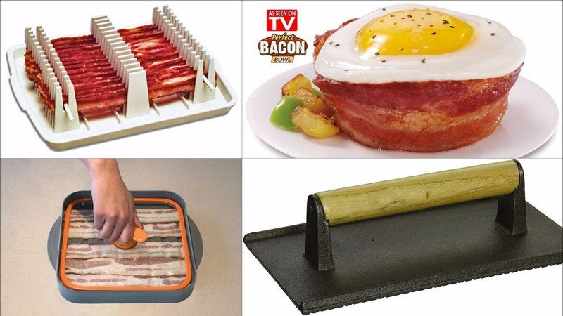 Illustration for article titled Which of these kitchen gadgets is best for makin' bacon?