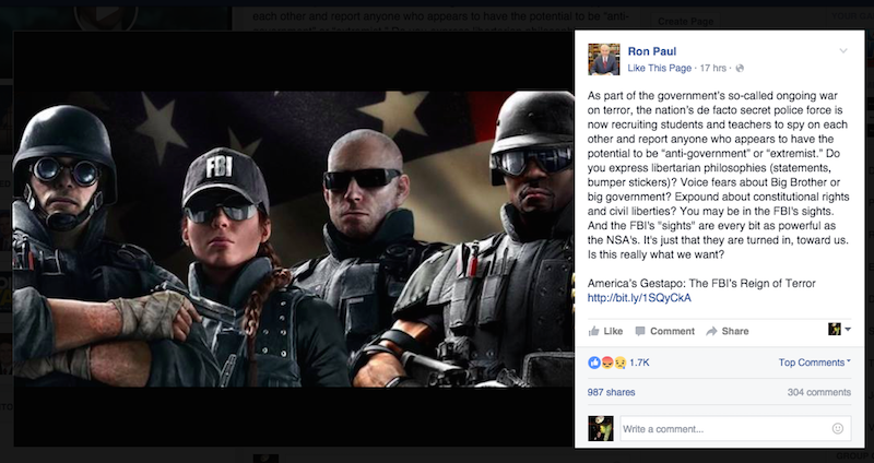 Illustration for article titled Ron Paul Cops Rainbow Six Image For Anti-FBI Article