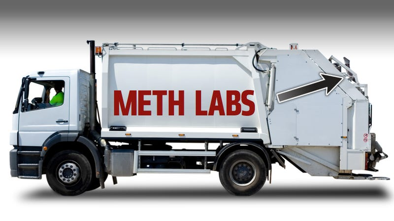 Illustration for article titled Trash Trucks Are A Terrible Place For Used Meth Labs