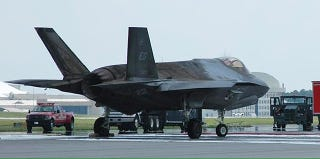 Illustration for article titled We Finally Get Our First Look At The BarbecuedF-35 Nearly A Year Later