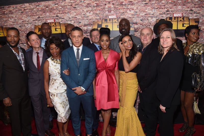 The cast of Luke Cage attends the New York premiere of the series at Harlem's AMC Magic Johnson theater Sept. 28, 2016. Jamie McCarthy/Getty Images