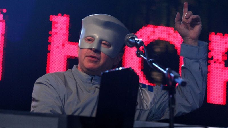 """Illustration for article titled A hypothetical timeline of events leading to Devo's new anti-Romney track, """"Don't Roof Rack Me, Bro! (Seamus Unleashed)"""""""