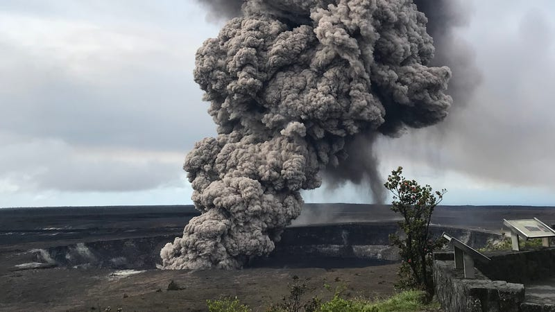 An ash column rises from the summit crater at Kilauea volcano following a small explosion on Wednesday.