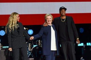 Beyoncé, Hillary Clinton and Jay Z at Cleveland's Wolstein Center on Nov. 4, 2016Hillary Clinton via Twitter