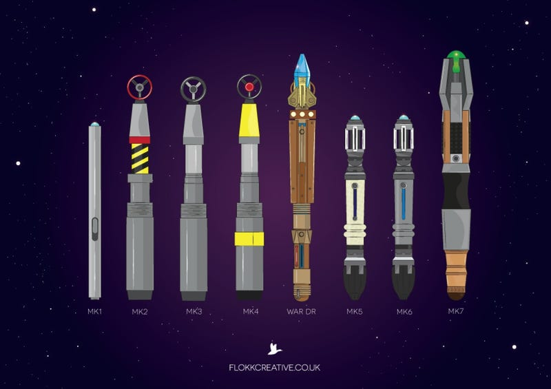 Illustration for article titled The Evolution of the Doctor's Sonic Screwdriver in One Image