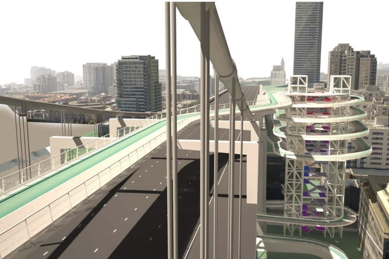 Illustration for article titled This Ridiculous Ramp Is SF's Best Idea for a Bike Path Across the Entire Bay Bridge