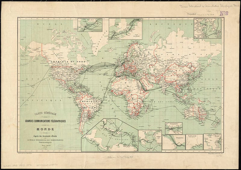 Illustration for article titled A világ telekommunikációs hálózata 1901-ben. Komoly központ voltunk