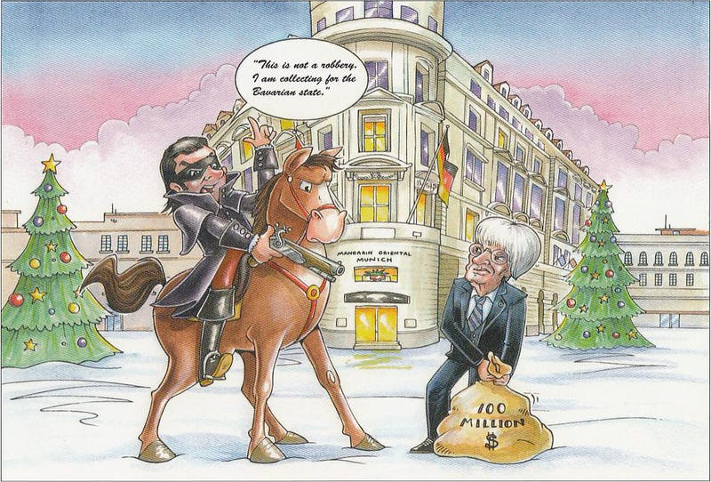 Illustration for article titled Bernie Ecclestone's Christmas Card Brags About His $100 Million Bribe