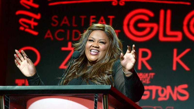 Nailed It! host Nicole Byer acts as master of ceremonies during the Netflix morning panels
