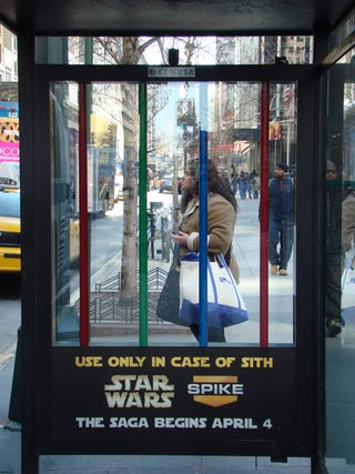 Illustration for article titled New York Bus Stops Now Stocked With Lightsabers
