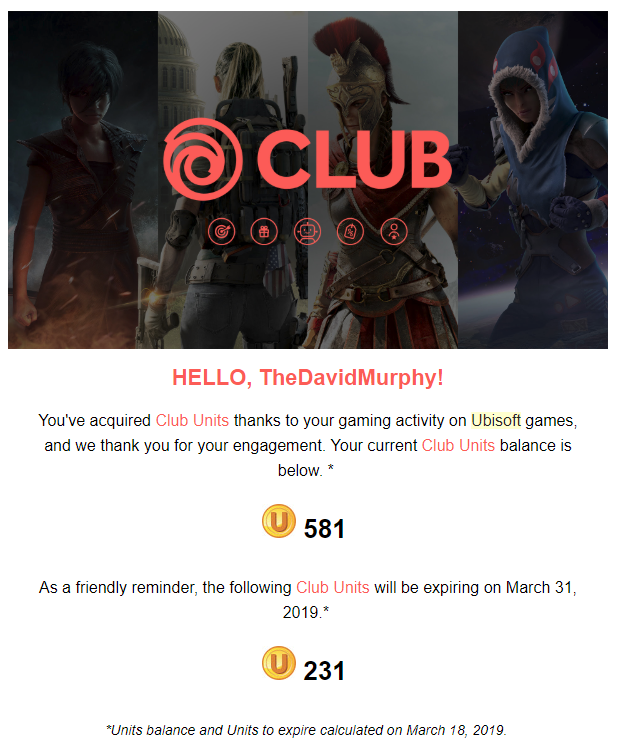 Spend Your Ubisoft 'Club Units' Before They Expire This Month