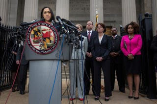 Baltimore City State's Attorney Marilyn J. Mosby announces on May 1, 2015, that criminal charges will be filed against six Baltimore police officers in the death of Freddie Gray. Gray, 25, was arrested April 12 and died a week later of spinal injuries suffered while he was in police custody.Andrew Burton/Getty Images
