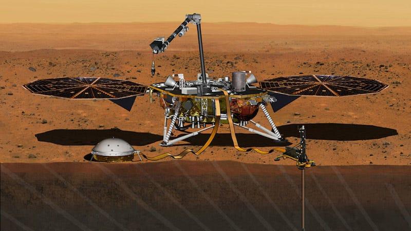 Artist's concept of Insight celebrating its Mars arrival (Image: NASA/JPL-Caltech)
