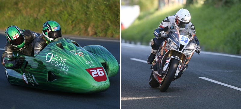 Baere riding left, Shoesmith riding right. Images from the Isle of Man TT.