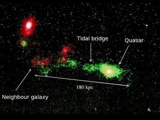 Illustration for article titled Galaxies linked by quasar-making nebula six times bigger than the Milky Way