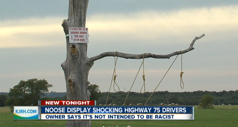 Display featuring nooses that was put up along Highway 75 in OklahomaKJRH screenshot
