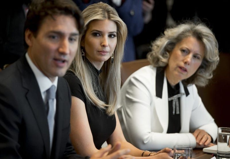 Canadian Prime Minister Justin Trudeau speaks alongside Ivanka Trump (center) and Dawn Farrell, president and CEO of TransAlta Corp., during a roundtable discussion on female entrepreneurs and business leaders at the White House on Feb. 13, 2017. (Saul Loeb/AFP/Getty Images)