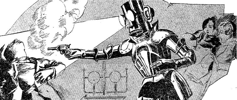 Illustration for article titled Alpha the Robot Shoots His Inventor (1932)
