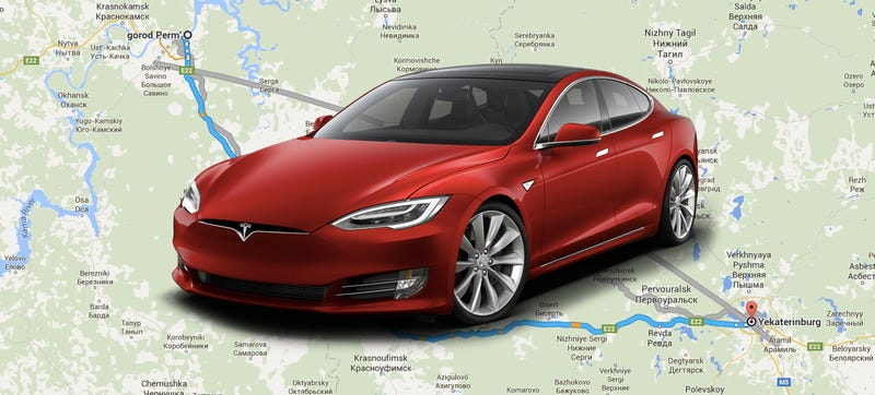 Route from Google Maps, Tesla from Tesla
