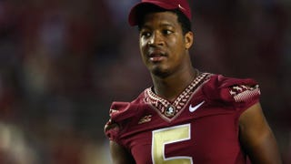 Jameis Winston of the Florida State Seminoles during the pregame against the Clemson Tigers at Doak Campbell Stadium Sept, 20, 2014, in Tallahassee, Fla.Ronald Martinez/Getty Images