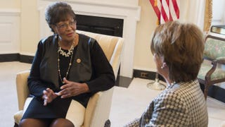 House Minority Leader Nancy Pelosi (D-Calif.) (right) speaks with Rep. Alma Adams (D-N.C.), the 100th woman in the 113th Congress, during a meeting in Pelosi's office at the U.S. Capitol Nov. 12, 2014.Saul Loeb/Getty Images