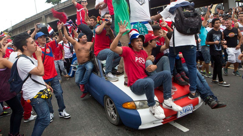 Costa Rican fans in the 2014 World Cup. The sound of these guys honking is not pictured. Photo Credit: AP