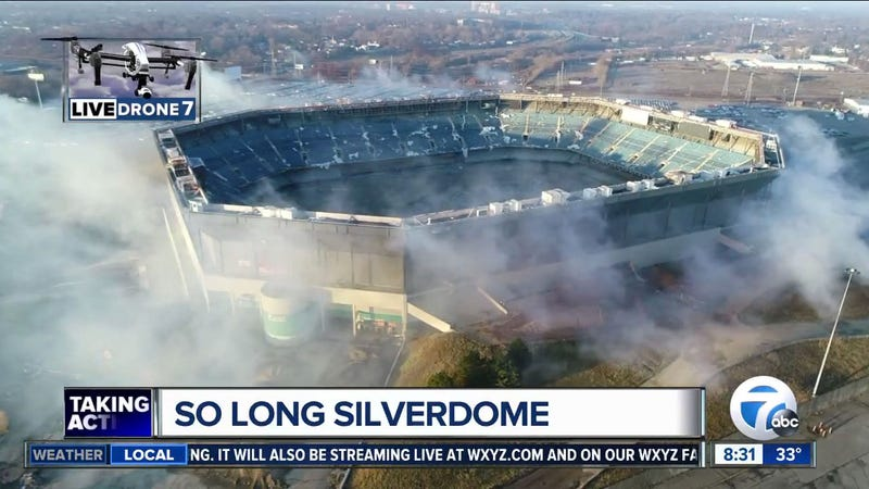Partial implosion of former Detroit Lions stadium fails