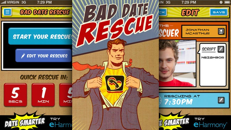 Illustration for article titled Bad Date Rescue: A Ripcord App for When eHarmony's Matching Algorithm Fails Miserably