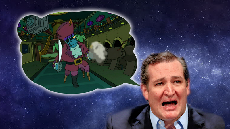 Illustration for article titled Space Genius Ted Cruz Is Super Worried About Space Pirates Stealing our Space Booty