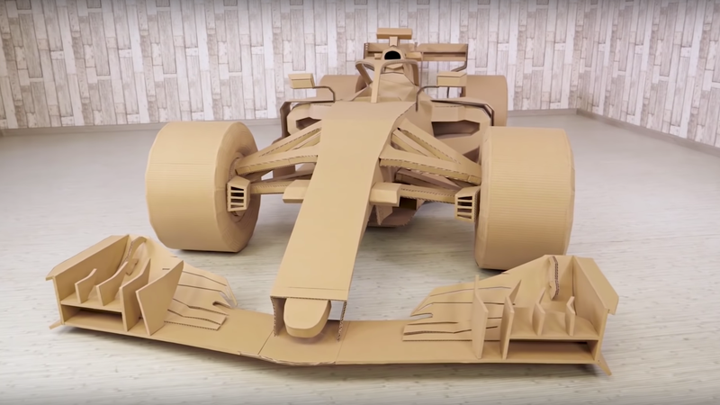 Illustration for article titled Watching This Cardboard F1 Car Get Built Is Better Than Some Races