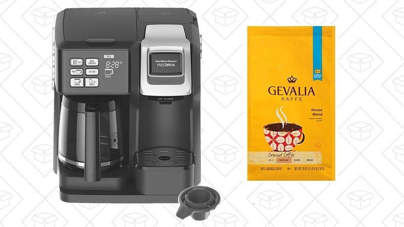 Hamilton Beach FlexBrew Programmable Coffee Maker + Gevalia House Blender   $52   Amazon