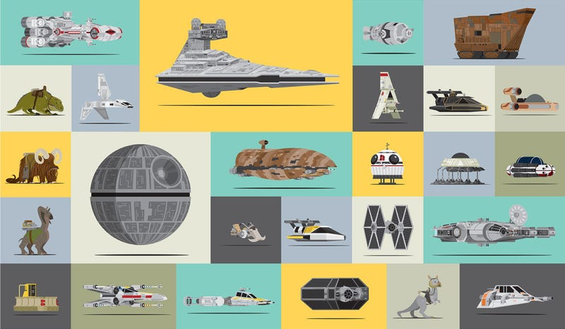 Illustration for article titled All the awesome spaceships and vehicles of Star Wars in one cool graphic