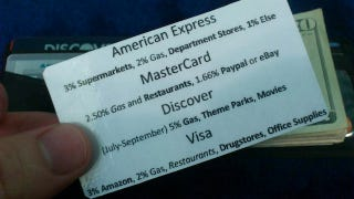 Illustration for article titled Keep a Credit Card Rewards Cheat Sheet in Your Wallet So You Always Use the Right Card