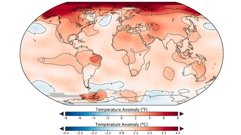 Global temperature anomalies for 2016. (Image: NASA/NOAA)