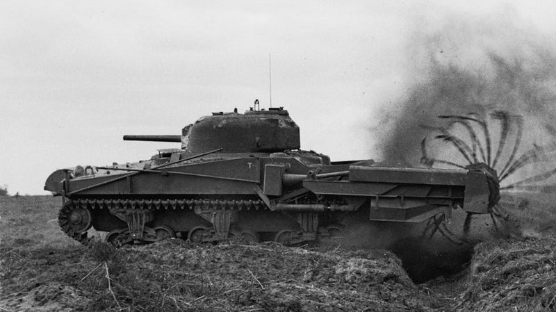 "Sherman ""Crab"" Flail tank, April 1944."