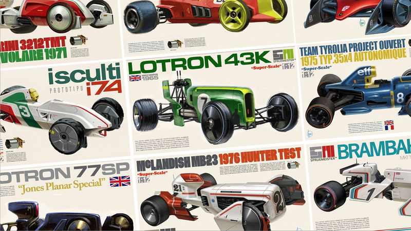 Illustration for article titled These Alternate-Universe Autonomous F1 Model Kits Are The Best Thing Ever