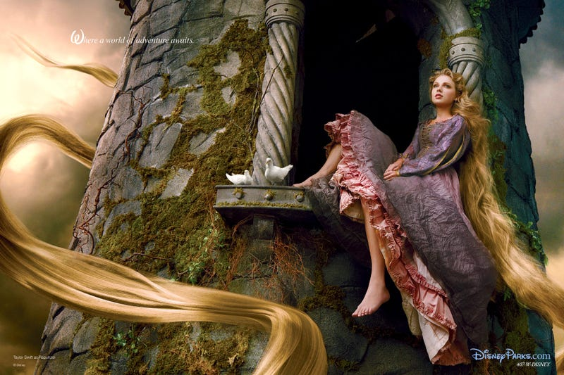 "Illustration for article titled Taylor Swift is Rapunzel in the latest ""Celebrity Disney Princess"" photo by Annie Leibovitz"