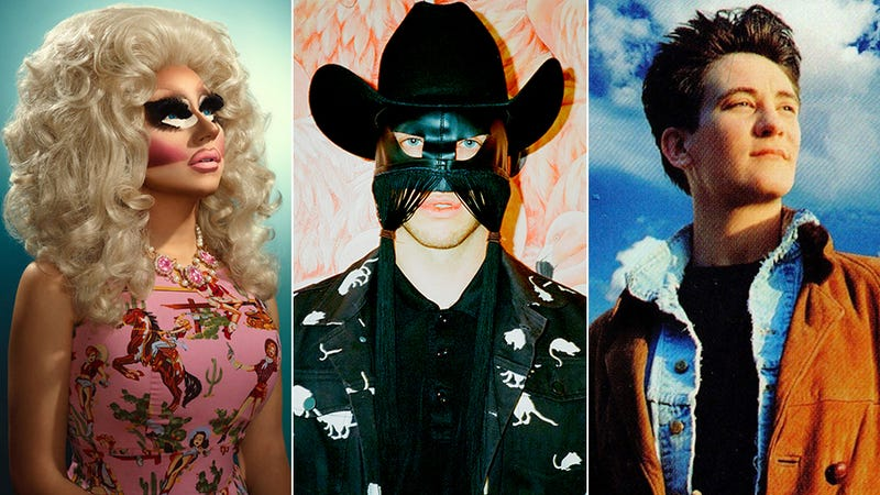 Trixie Mattel (Photo: Lisa Predko), Orville Peck (Photo: Carlos Santolalla), and k.d. lang (Image: Absolute Torch And Twang album art)