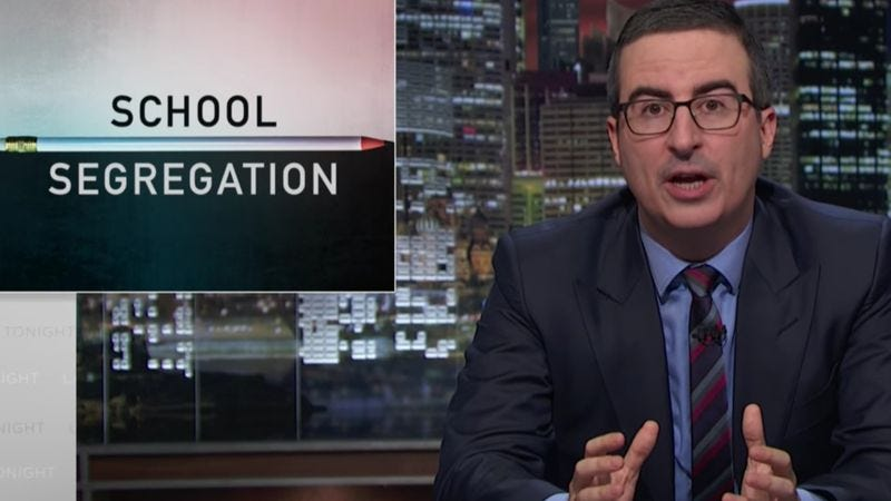 Illustration for article titled John Oliver pushes for an end to school segregation, Tuesday elections
