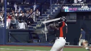 Korean Baseball Player Makes His Bat Flip Count