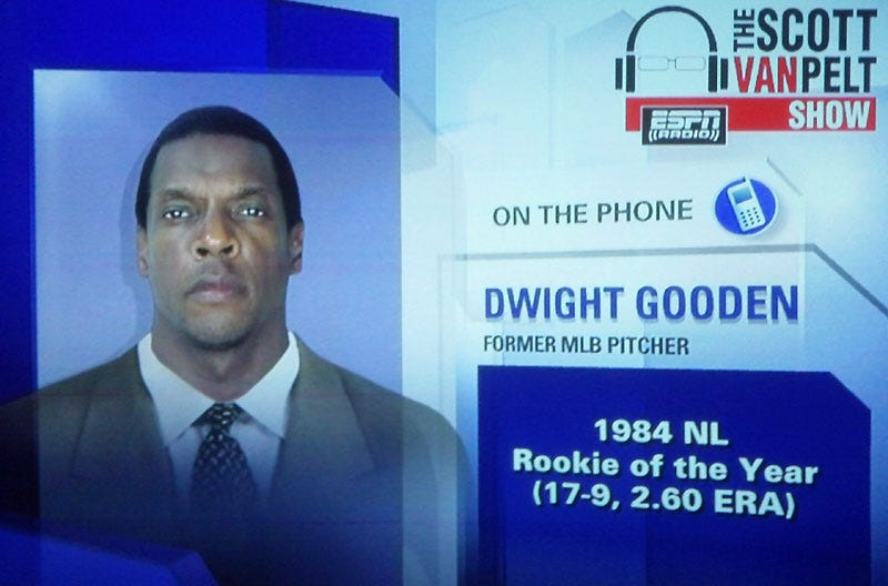 Illustration for article titled Did ESPN Photoshop Dwight Gooden's Mug Shot On To A Suit?