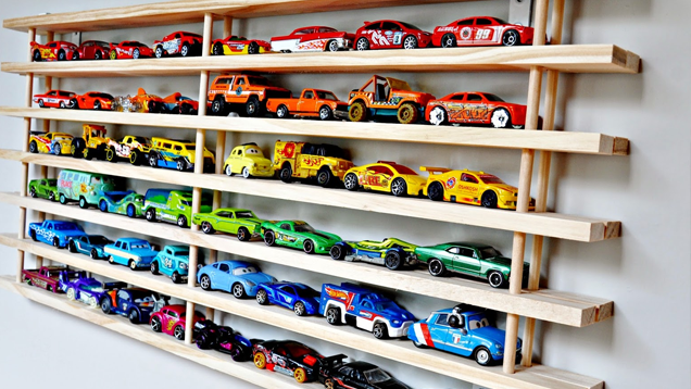 Turn A Shoe Rack Into A Toy Car Wall Garage