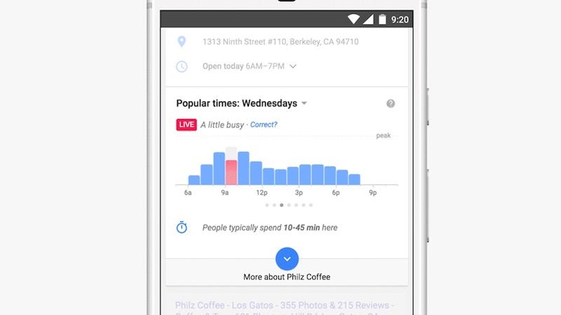 Illustration for article titled Google Will Now Show You How Busy a Business Is In Real Time