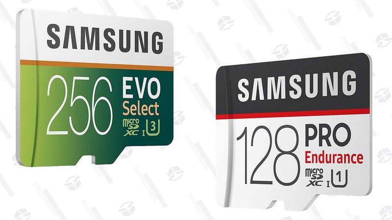 Samsung EVO Select U3 MicroSD Cards 32GB-256GB | $10-$73 | AmazonSamsung Pro Endurance MicroSD Cards 32GB-128GB | $19-$60 | Amazon