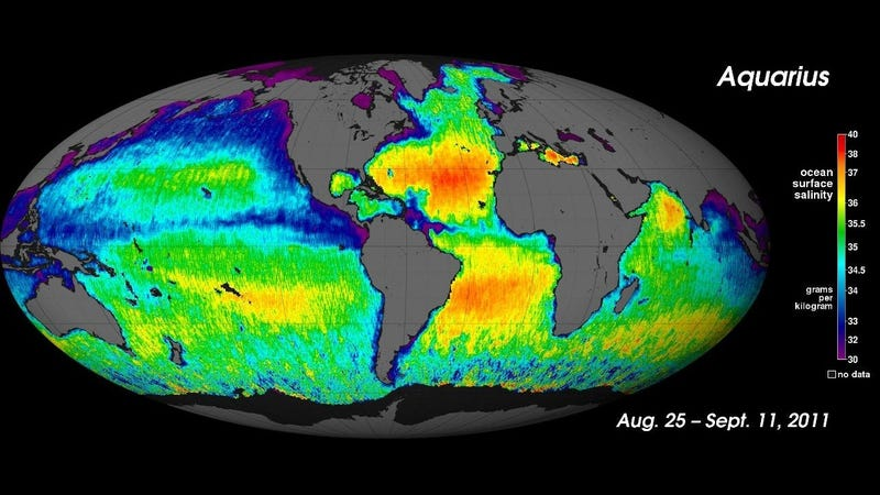 Illustration for article titled Aquarius satellite reveals saltiness of all the world's oceans