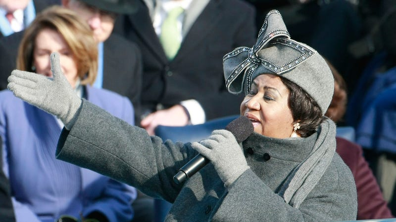 Aretha Franklin sings during the inauguration of Barack Obama on January 20, 2009, in Washington, D.C.