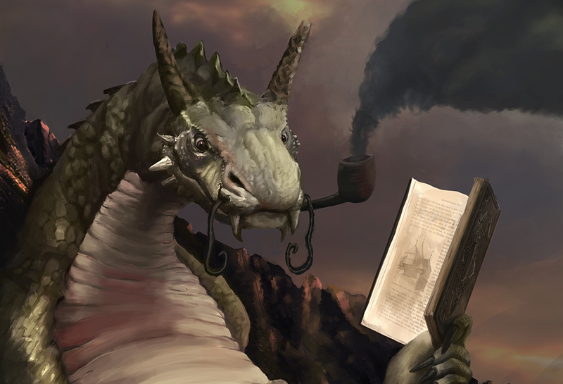 Illustration for article titled Concept Art Writing Prompt: The Book Wyrm