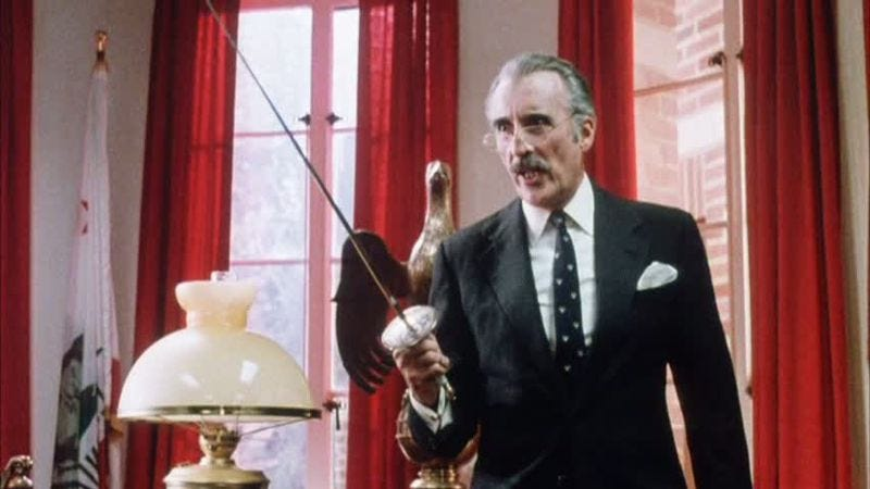 Christopher Lee in the 1986 comedy Jocks