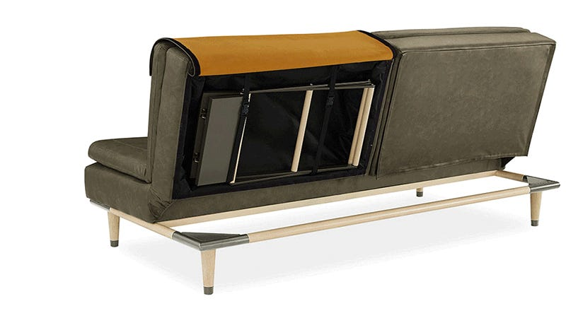 space-saving sofa bed features extra furniture hidden inside