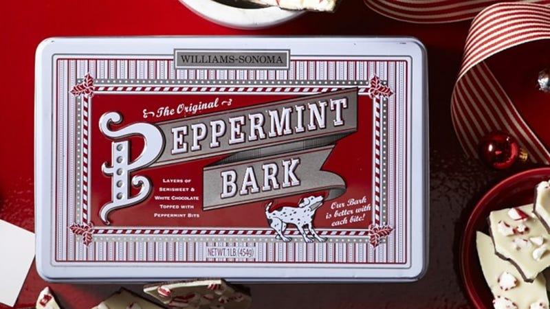 Williams Sonoma Peppermint Bark   $8   Williams Sonoma   Promo code HOLIDAY